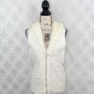 White House Black Market Removable Faux Fur Vest
